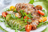 Healthy salad plate with colorful tomatoes, chicken breast and avocado - 177039278