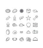 Fototapety pictogramme, icônes, mer, océan, pêche, fruits de mer, crustacés