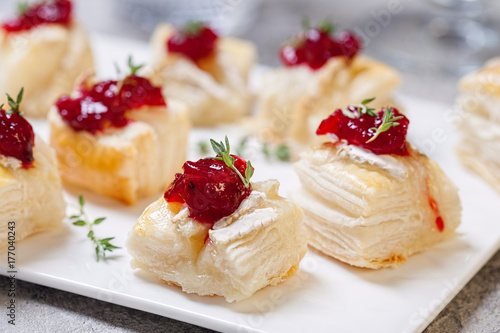 Poster Holiday appetizers with cranberry, brie and thyme