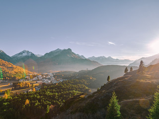 sunset over swiss village