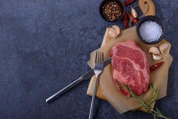Raw steak. top view
