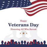 Happy Veterans Day. Greeting card with USA flag and soldier on background. National American holiday event. Flat vector illustration EPS10. - 177052619