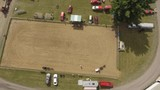 aerial horse and buggy show from above rotating view 4k - 177054456