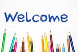 pencil crayon welcome - 177055889