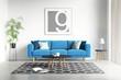 Contemporary modern interior with blue sofa