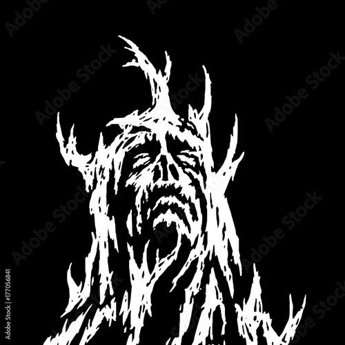 A demon with branches growing from it looks up. Vector illustration.