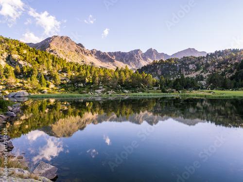 Estany Primer lake in Andorra, Pyrenees Mountains