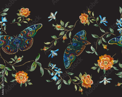 Embroidery floral seamless pattern with wild roses and butterflies. Vector traditional design set with flowers for wearing. - 177059827