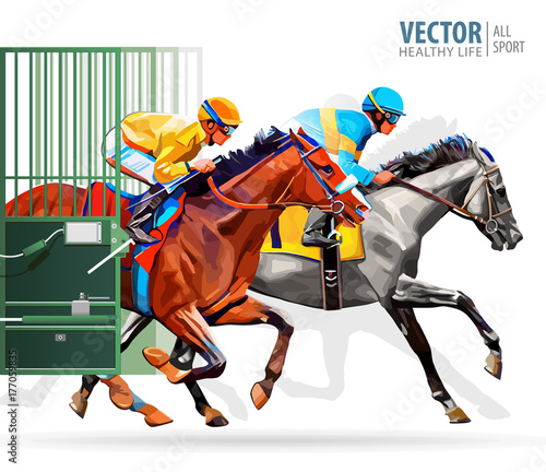 In de dag Art Studio Three racing horses competing with each other, with motion blur to accent speed. Start gates for horse races the traditional prize Derby. Vector illustration.