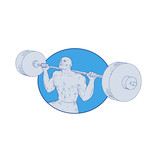 Strongman Powerlifting Barbell Drawing - 177062655
