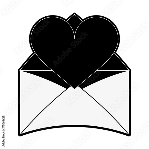 heart cartoon with message envelope valentines day related icon image vector illustration design black and white