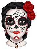 Vector illustration of a woman from the neck up, made up for Dia de los Muertos, Day of the Dead. - 177074076