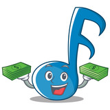 With Money Music Note Character Cartoon - 177075842