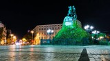 The Monument To Bogdan Khmelnitsky time lapse at night - 177078076