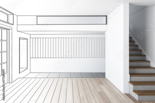 Fridge magnet Raumgestaltung im Einfamilienhaus (Entwurf)