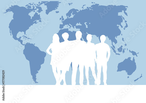 people on world map, vector poster and background. Teamwork and business concept