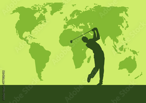 Golf club competition tournament world map background vector golf club competition tournament world map background vector poster with man playing game on gumiabroncs Images