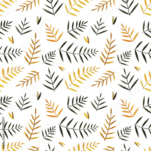 Watercolor colorful autumn seamless pattern. Pattern with autumn leaves and branches. Perfect for you postcard design,invitations,projects,wedding card,poster, packaging. - 177083877