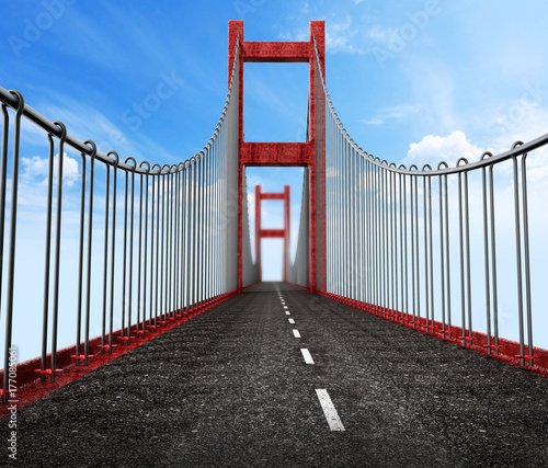 Wall mural Road level view from suspension bridge . 3D illustration