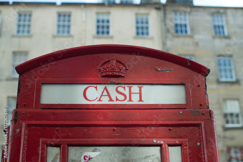 Cash box red traditional atm point in London, British style Poster
