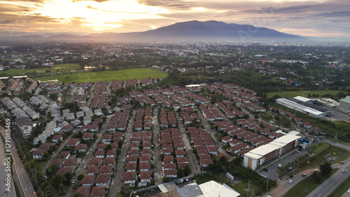 Bird eye view sunset landscape ring road and traffic Chiang mai City northern of thailand