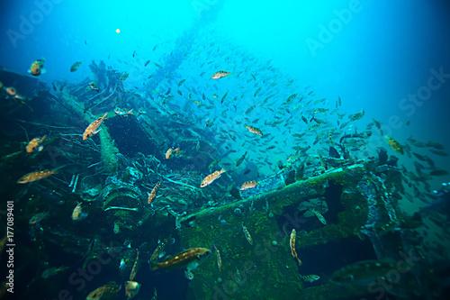 Aluminium Schipbreuk shipwreck, diving on a sunken ship, underwater landscape