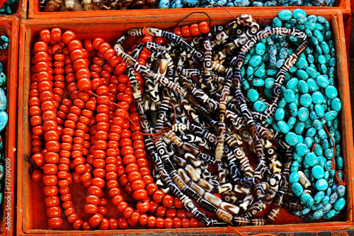 costume jewelery made of stone, coral, turquoise,