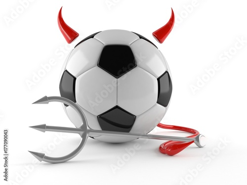 Soccer ball with horns ,tail and pitch fork