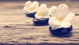 Pile of zen stones and Frangipani flower isolated on white background - 177091086