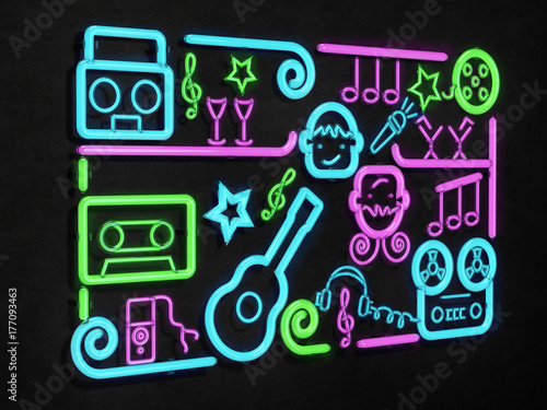 Music party neon sign. Bright signboard, neon light 3D illustration.