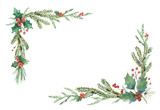 Watercolor vector Christmas frame with fir branches and place for text. - 177093889