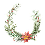 Watercolor vector Christmas wreath with fir branches and flower poinsettias. - 177094025