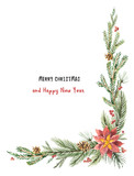 Watercolor vector Christmas decorative corner with fir branches and flower poinsettias. - 177094086
