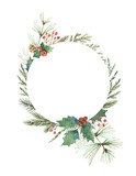 Watercolor vector Christmas frame with fir branches and place for text. - 177094094