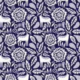 Deer and flowers vector seamless pattern - 177094204