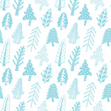 Fir trees seamless vector pattern - 177094221