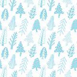 Fir trees seamless vector pattern
