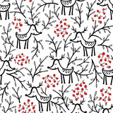 Deer and berries vector seamless pattern - 177094248