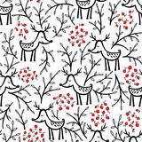Deer and berries vector seamless pattern