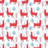 Red deer vector seamless pattern - 177094255