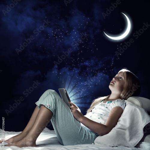 Kid girl before sleep