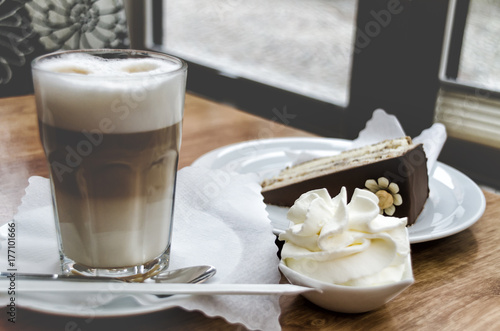 Foto op Canvas Koffie Morning high-calorie breakfast, pastries, meringues and lattes