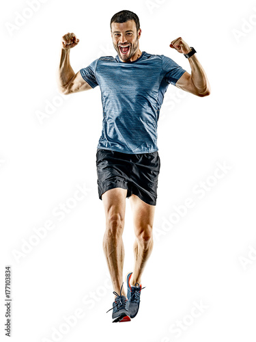 Tuinposter Jogging one caucasian man runner jogger running jogging isolated on white background with shadows
