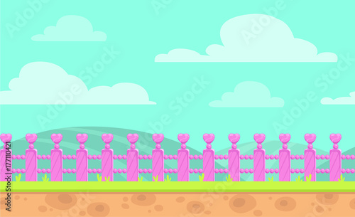 Poster Groene koraal Seamless cartoon vector landscape