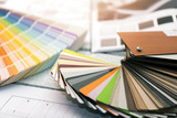 interior design - paint color and furniture material samples - 177112687