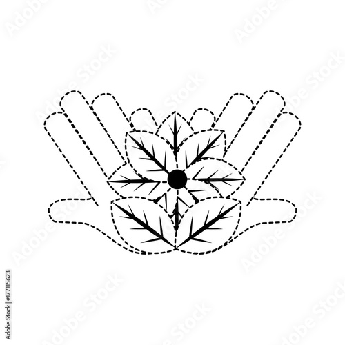 Fridge magnet hands with beautiful flower icon over white background vector illustration
