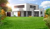 Belle maison moderne d'architecte à toit plat - 177121818