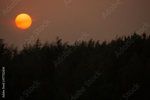 Fotobehang Diepbruine sunset