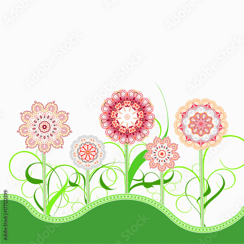Abstract flowers on the fantasy background