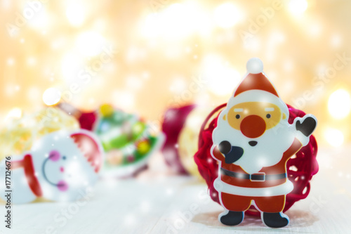 Santa Claus and snow man with snow fall,merry Christmas and happy new year